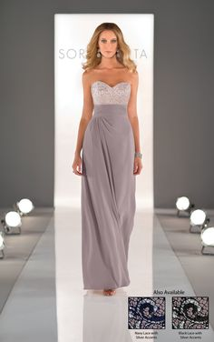 Elegant long bridesmaid dresses feature a chiffon gown that has a shimmery lace bodice. Exclusive designer long bridesmaid dresses by Sorella Vita.
