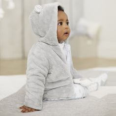 Bear Ears Fleece Jacket | The White Company. Shopping from the US? -> http://us.thewhitecompany.com/The-Little-White-Company/Baby-Boys%27-/Bear-Ears-Fleece-Jacket/p/BETFJ?swatch=Cool+Gray