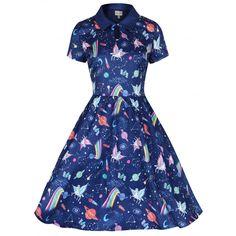 'Helena' Space Unicorn Print Swing Shirt Dress - from Lindy Bop UK