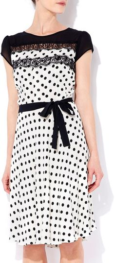 Wallis Cream Polka Dot Lace Top Dress on shopstyle.com