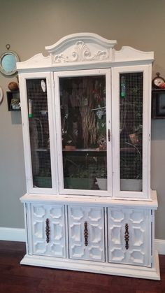 Pet Bird DIY Ideas... How I Turned a Dish Display Hutch into a Beautiful Bird Home.