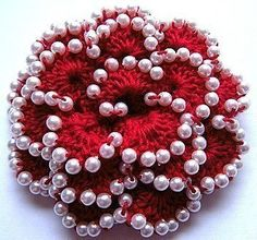 Beaded Crochet Flower Pattern- I need to practice on my bead work so I can make one of these for corsages. Bead Crochet, Crochet Motif, Crochet Crafts, Yarn Crafts, Crochet Hooks, Crochet Projects, Knitted Flowers, Crochet Flower Patterns, Beaded Flowers