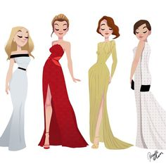Instagram media by pernilleoerum - My list of #oscar dresses is so long this year, so splitting it up. Here's my take on #reesewitherspoon, #Rosamundvouge, #Emmastone and #Marioncotillard. #award #awardseason #sketch #doodle #drawing #girlsinanimation