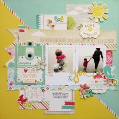 Love the Sunshine - Echo Park - Summer Bliss Collection - 12 x 12 Double Sided Paper - Birdie Bliss