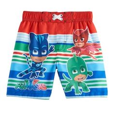 He'll have fun in the sun wearing these boys' Paw Patrol swim trunks featuring his favorite PJ Masks crew. In red. Toddler Boy Outfits, Toddler Boys, Disney Jokes, Boys Swim Trunks, Miraculous Ladybug Anime, Pj Mask, Disney Merchandise, Blue Stripes, Red And Blue
