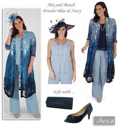 Chesca plus size occasion coat in pale blue and navy. Mother of the Bride/Groom summer trouser suits, chiffon camisole and matching trousers.