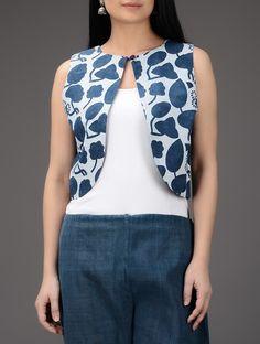 Buy Indigo White Dabu Printed Cotton Jacket Online at Jaypore.com