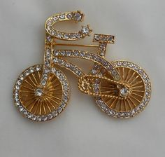 For similar items, click through to The Family Jewels Online Shop: FamilyJewelsNYC.etsy.com #vintage #Bicycle #Bike #Brooch #Pin #1950s Rhinestones