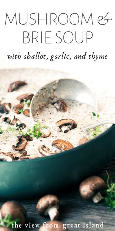 Mushroom and Brie Soup - Mushroom and Brie Soup is a fall classic kicked up a notch with lots of creamy Brie cheese. It's perfect for a cozy dinner on the couch or a special first course for holiday meal. Creamy Mushroom Soup, Mushroom Soup Recipes, Mushroom Meals, Beef Recipes, Vegetarian Recipes, Cooking Recipes, Burger Recipes, Recipies, Healthy Recipes