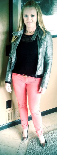 CAbi Spring 2014 Pigment Jeggings with CAbi Spring 2013 Skinny Belt & Pointelle Sweater - dinner date with hubby