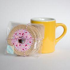 Crochet Donut Coaster Set Set of 4 handmade by whimsyloveswit