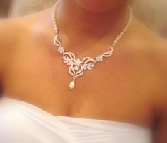Bridal necklace Bridal earrings Wedding jewelry by treasures570, $135.00