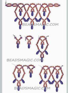 .. Diy Necklace Patterns, Beaded Jewelry Patterns, Necklace Designs, Beading Patterns, Bead Jewellery, Seed Bead Jewelry, Copper Jewelry, Jewlery, Brick Stitch Earrings