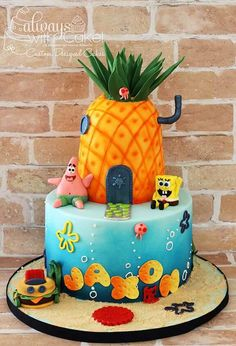 Such a fun birthday cake. Pineapple and sea are airbrushed. All characters are made out of fondant and/or gumpaste. 12th Birthday Cake, Spongebob Birthday Party, Funny Birthday Cakes, Bolo Artificial, Sea Cakes, Cakes For Boys, Celebration Cakes, Cute Cakes, Cupcake Cakes