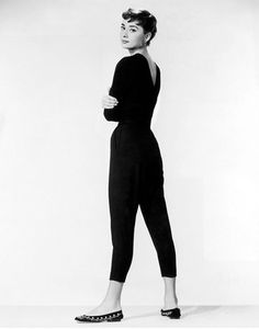 Audrey Hepburn Style Tip: When in doubt, throw on a jumpsuit and flats for gamine charm