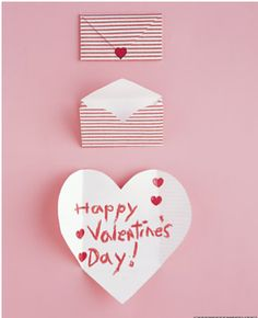 Easy DIY for folded envelope hearts for Valentines Day