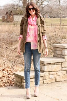 Fall Style Inspiration - Campy chic. plaid shirt, cargo jacket, rolled jeans, and heels