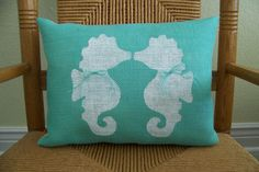Seahorse pillow Ocean Burlap Beach pillow by KelleysCollections