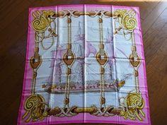 Authentic Vintage Hermes 100% Silk Scarf Pink Multi Ship VG #Hermes #Scar