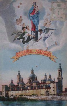 Recuerdo de la Virgen del Pilar y Zaragoza, circa 1900. Coloreada sobre foto en BN. 03.