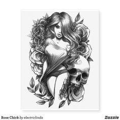 Draw Rose Rose Chick Temporary Tattoos - drawing sketch design graphic draw personalize - Rose Chick by Electric Linda pencil drawing on paper Pin-up-girl Tattoo, Tattoos 3d, Neck Tattoos, Pin Up Tattoos, Full Sleeve Tattoos, Samoan Tattoo, Tattoo Sleeve Designs, Celtic Tattoos, Body Art Tattoos