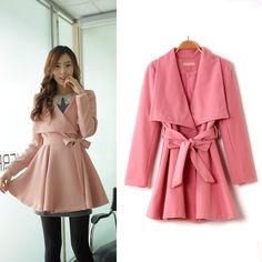 Pink Belted Classic Large Collar Woolen Peacoat