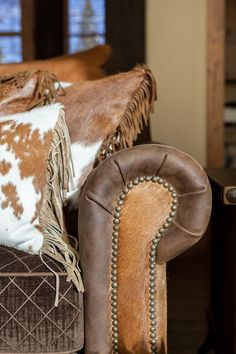 Cowhide Decor, Cowhide Furniture, Cowhide Pillows, Western Furniture, Leather Furniture, Rustic Furniture, Leather Sofa, Cowhide Chair, Cabin Furniture