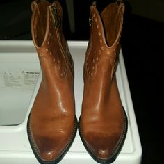 Lucky brand booties Gorgeous Cognac Color,w/size zipper in great used condition ,gold circle details. .has a scuff in left tip of boot, ombre in tip front so pretty as shown in first pic Lucky Brand Shoes Ankle Boots & Booties