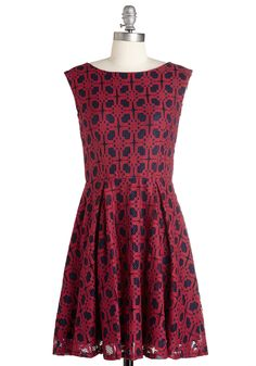 Play it by Cheer Dress. Go with the flow in the festive elegance of this ruby-red and navy-blue dress. #red #modcloth