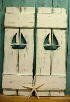ONE White Weathered Sailboat Cutout Wood Beach by CastawaysHall, $59.00