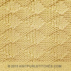 The Diamonds Stitch is knitted with simple knit and purl techniques which produce diamond shapes running across the work.