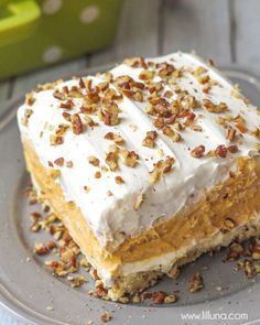 Creamy and Cool Pumpkin Delight with so many delicious layers - everyone will love it. Recipe includes whipped topping, pecans, pumpkin spice, pumpkin puree, cream cheese and white chocolate instant pudding mix. 13 Desserts, Layered Desserts, Delicious Desserts, Dessert Recipes, Delicious Chocolate, Pudding Desserts, Dessert Ideas, Appetizer Recipes, Pumpkin Delight Dessert Recipe