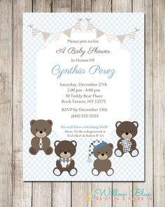 Teddy Bear Baby Shower Invitation, Boy Baby Shower, 5x7 or 4x6 Printable, Teddy Bear Baby Shower #703,