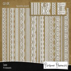 Digital Scrapbook Embellishments - Digital Lace - Lace Clip Art- Digital Scrapbooking Lace - Lace Border - Instant Download - Commercial Use on Etsy, $3.50