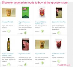 Vegetarian diet foods at the grocery store