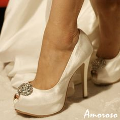 Satin Peep Toe Platform Bridal Shoes with Dazzling Brooch | eBay