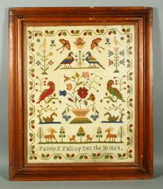 Needlepoint sampler, signed Fanny E. Yallup, December 30th, 1859