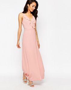 Jarlo strappy lace insert button maxi dress peach