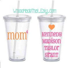 Mother's Day Personalized Tumbler - Mom with children's names on back - 16oz acrylic cup with straw - BPA free