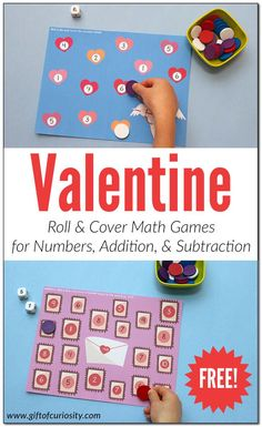 Valentine Roll & Cover Math Games | Free Valentine math printables | Valentine numbers practice | Valentine addition activities | Valentine subtraction activities | #Valentine #ValentinesDay #giftofcuriosity #freeprintable || Gift of Curiosity