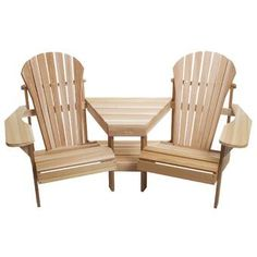 All Things Cedar Muskoka Set of 2 Wood Stationary Adirondack Chair(s) with Solid Seat at Lowe's. Comfortable seating for complete with designer corner table and lower magazine rack. With its form fitting seat, contoured back and thick arm paddles, Patio Chairs, Adirondack Chairs, Outdoor Chairs, Outdoor Decor, Ikea Chairs, Arm Chairs, Adirondack Furniture, Patio Table, Beach Chairs