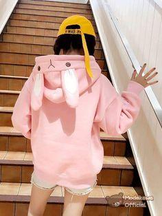 934ade19 Modakawa - cosplay store - Sweatshirt - Kawaii Rabbit Ears Oversized Hoodie  Winter Outfits For Teen