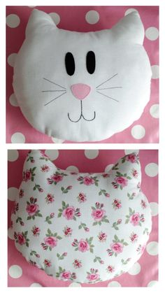Cat pillow or blankie!Cat pillow with patterned backCat pillow - I want to make one! Baby Pillows, Kids Pillows, Animal Pillows, Sewing Toys, Sewing Crafts, Sewing Projects, Cat Pillow, Sewing Pillows, Creation Couture