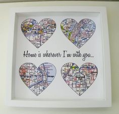 "Map Heart Personalized Anniversary Print. This digital print is customized to ""heart"" your special day. Choose three or four locations to feature on your personalized heart maps. Your print comes beau"