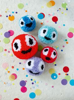 Pom pom faces | Project in Mollie Makes The Big Comic Relief Crafternoon 2