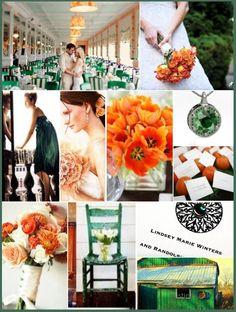 emerald, gold and orange color palette | COLORS: Emerald & Shades of Orange