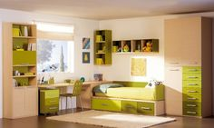 Dormitorio Juvenil en madera y verde limon o verde manzana fresco e inspirador