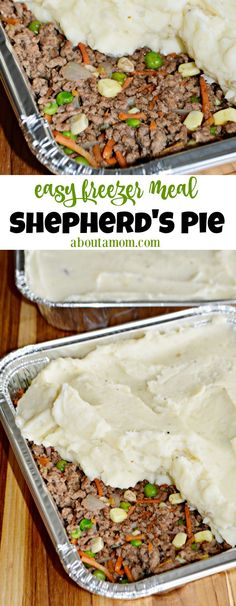 Freezer Friendly Shepherd's Pie This freezer-friendly Shepherd's Pie recipe is affordable and easy-to-prepare. It's a great make-ahead freezer meal that the whole family will enjoy. You seriously can't go wrong with this easy meat and potatoes dish. Best Freezer Meals, Freezable Meals, Freezer Friendly Meals, Make Ahead Freezer Meals, Easy Meals, Freezer Cooking, Freezer Recipes, Make Ahead Casseroles, Hamburger Freezer Meals