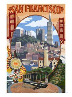 San Francisco, California Scenes Posters par Lantern Press sur AllPosters.fr