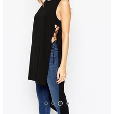 ASOS Lace up Longline tank. New with tags! Black tank with back longer than the front. Size UK 4. Light weight fabric! ASOS Tops Tank Tops